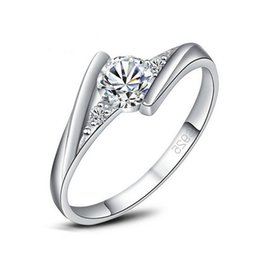 Wholesale Simple Gold Rings For Girls - Korean Fashion Trendy Sweet Lover Ring White Gold Plated Clear AAA CZ Ring for Girl Friend Simple Engagement Ring JR0422