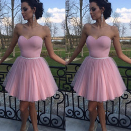 Wholesale Short Modest Homecoming Dress - Modest 2017 Pink Sweetheart Short Prom Dresses Cheap Satin And Tulle Pleats Formal Party Homecoming Dress Custom Made China EN8288