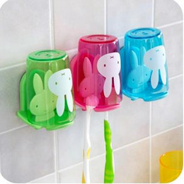 Wholesale Couple Toothbrush Holder - Home bathroom accessoriesset Toothbrush holder with suction cup colorful cartoon rabbit pattern Couples toothbrush rack pink