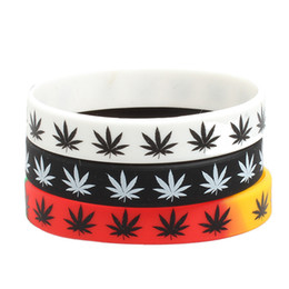 Wholesale White Rubber Wristband - Fashion Rasta Reggae Wristband Silicone Maple Leaves Wrist Band Charm Bracelets Hip Hop Sports Rubber Silicone Bracelet Wholesale