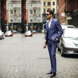 Wholesale Hot Suits For Men - Hot Sale 3 Piece (Jacket+Pants+vest) Blue Business Mens Suits Wedding Tuxedos Groomsmen Best Man Suit Formal Suit for Men