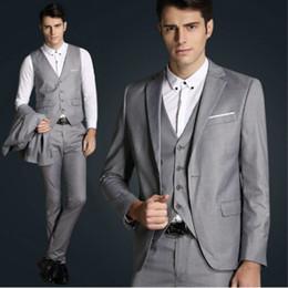 Wholesale Top Jackets For Wedding Dress - Top Quality Mens Slim Suits Set 3 Pcs Blazer+Vest+Pants Groom Wedding Suits For Men Dress Suit Navy Red Grey Jacket
