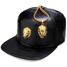 Wholesale rock hats - Wholesale- High Quality Fashion Snapback PU Hats Lion Head Men Women Hip Hop Full Cap Skateboard Baseball Rock Rapper Music Men Bone