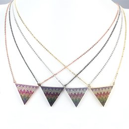 Wholesale Triangle Necklace Pendant Men - New Fashion Triangle Shape Design And Colorful of Unique Wave Type Characteristics Of Men And Female Necklace JF