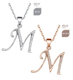 Wholesale Sterling Silver Golden - beautiful 925 Sterling Silver rose golden man-made diamond initial pendant necklace lady's with letter A-Z