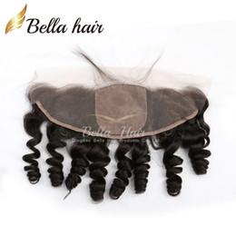 Lose welle seide basis frontal online-13 * 4 lose Wellen-Spitze-Stirnseiten-Schließung mit 4 * 4 Silk Basis-Spitzenbrasilianer-Haar-Verlängerungs-Haarteilen geben Verschiffen frei Bella Haar