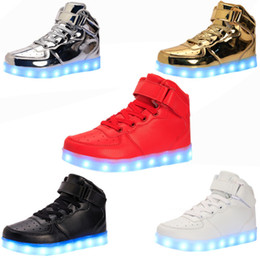 Wholesale 46 Led - size 35-46 8 Colors LED Luminous Shoes Men Women Unisex Couple Sneakers Fashion Casual Flat led Shoes For Adults USB Charging Lights Shoes