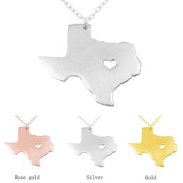 Wholesale Man Maps - Texas Map Pendant Necklace with Love Heart Stainless Steel USA State TX Geography Map Necklaces Jewelry for Women and Men