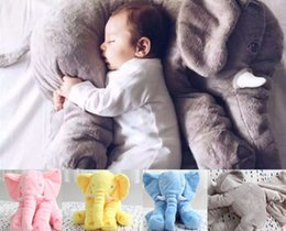 Wholesale Nose Yellow - 5 color elephant pillow baby doll children sleep pillow birthday gift INS Lumbar Pillow Long Nose Elephant Doll Soft Plush