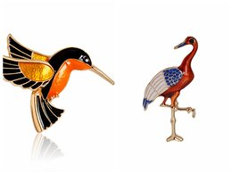 Wholesale Colorful Alloy Bird - Colorful Glaze Flying Birdie Red-crowned Crane Flamingo Metal Bird Brooch Pins Dress Jacket Pin Badge Gift Jewelry