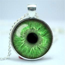 Wholesale Evil Eye Pendants - 10pcs lot Light Green Eye Necklace, Third Eye Jewelry, Evil Eye Pendant Glass Cabochon Necklace 6
