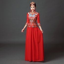 Wholesale High Collar Quarter Sleeve - Red US2-US10 2017 NEW Fashion Chinese Tradition Cheongsam sheath Three quarter sleeve embroidery long evening dress