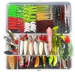 Wholesale Weighted Lures - Fishing Lure Minnow Popper Wobbler Spoon Metal Lure Soft Bait Fishing Lure Kit Isca Artificial Mixed Color Style Weight