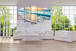 Wholesale Painted Canvas Abstract - 5 panel waves landscape painting canvas mural art home decoration living room canvas print modern painting - big canvas art cheap