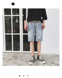 Wholesale Japanese Buttons Wholesale - Washed denim summer style restoring ancient ways Japanese character hole pants 5 minutes of pants ICONS