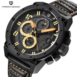 Wholesale Wrist Stop Watches - Top Brand Wrist Watch Men Date 10ATM Water Resistant Stops Analog Quartz Chronograph Genuine Leather Band Watches