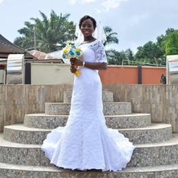Arabic Plus Size Mermaid Wedding Dresses 2017 Sexy See Through Half Sleeves Bridal Gowns Appliques Lace Vestidos De Novia Hot Sale