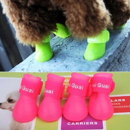 Wholesale Teddy Rubber Shoes - 4pcs set Smale dogs Cat Teddy 5 color Pet dog shoes Candy color Waterproof Protective Rubber Pet rain boots galoshes