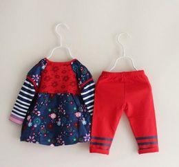 Wholesale Doll Leggings - New Girls Embroidered flowers striped Doll shirt + Leggings Suit Children 2pcs set wholesale