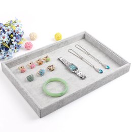 Wholesale Necklace Holder Case - Fashion Gray Jewelry Display Tray Bracelet Holder Ring Earring Case Necklace Pendant Shelf Jewelry Display Storage Box