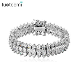 Wholesale holiday tops for women - LUOTEEMI Top Luxury Wedding Bracelet 3 Rows AAA+ Top Quality Zircon Stones Paved Wedding Bracelet Bangles for Women