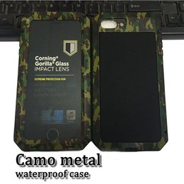 Wholesale Waterproof Case Glass Screen - camo metal waterproof shockproof case magnalium cellphone back cover with 9h tempered glass screen protector for iphone 5s 6 7 7plus