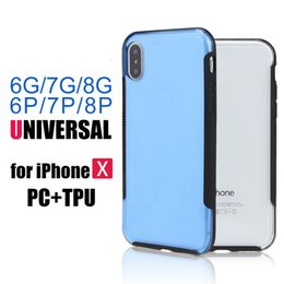 Wholesale Tpu Soft Bumper - For IPhone X Armor Case Transparent Hybrid Phone Case For iphone 8 7 7plus Soft TPU Bumper Clear PC Back Cover OPPBAG