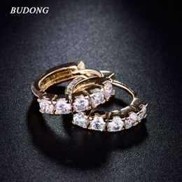 Wholesale Earing Black - BUDONG Fashion Brand Circle Earing for Women Gold Plated Hie Hoop Earrings Shining White Zircon Statement Jewelry E130