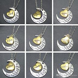 Ordre mixte lune coeur collier pendentif je t'aime à la lune et dos pendentifs colliers papa maman frère frère soeur collier cadeaux ? partir de fabricateur