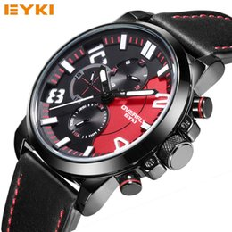 Wholesale Eyki Watches Overfly - Overfly EYKI Luxury Brand Men Watches Top Quality Leather Mens Fashion Auto Date Quartz Watch Casual Luminous Clock