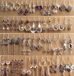 Wholesale Dangle Charm Alphabet - Elegant Charm Earrings for Women Sliver Plated Water Drop Stellux Austrian Crystal Dangle Wedding Earrings