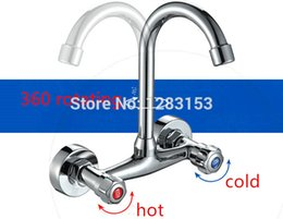 Wholesale Double Sink Kitchen Faucet - Wholesale- free shipping kitchen faucets double hands round bathroom sinks Wall-in taps double hole mix water tap