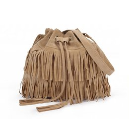 Wholesale Suede Fringe Crossbody Bag - Wholesale-Suede Drawstring Bucket Bag Women Handbag Faux Fringe Tassel Shoulder Crossbody Messenger Bag Boho Style