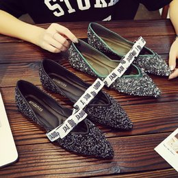 Wholesale Bling Bow Flats - Letter printed bow-knot flats glitter shoes pointed toe cut out loafers bling bling espadrilles shoes woman letter band design moccasins 185