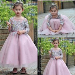Wholesale Cupcake Shirts - Lovely Jewel Sheer Neck Girls Pageant Dresses With Applique 3 4 Long Sleeves Flower Girls Dresses Back Zipper Tiered Ruffle Cupcake Dresses