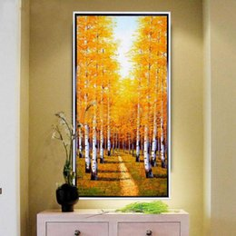 Wholesale Large Yellow Abstract Oil Painting - large canvas art hand painted autumn tree lane painting yellow fall landscape canvas picture vertical Corridor Decorations