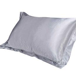 Wholesale yellow silk pillows - Wholesale- Silk Satin Pillow Cover Case Pillowcase Home MultiColor ice silk simulation of pure silk single pillowcases 2017 fashion new