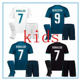 Wholesale Children S Cotton Socks - 2017 Real madrid Kids soccer Jersey Full Sets Youth Child kit 17 18 RONALDO home camisetas de futbol JAMES BALE football shirt With Socks