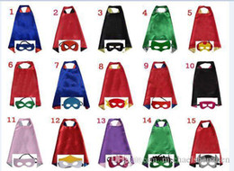 Wholesale Lycra Wholesalers - Double side L70*70cm kids Superhero Capes and masks for kids capes with mask 15design