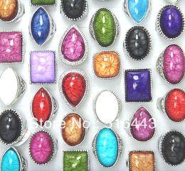 2019 gioielli in miniatura all'ingrosso 30pcs grandi pietre di fascini di modo delle donne degli uomini dell'annata placcato argento anelli all'ingrosso lotti di gioielli A-027