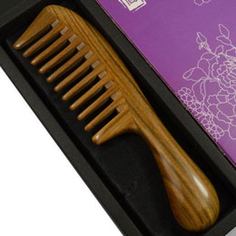 Wholesale Wide Tooth - empty person large round handle sandalwood comb wide tooth curl hair wooden comb