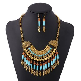 Wholesale Womens Ethnic Jewelry - New Arrival Vintage Bohemia Ethnic Style Necklace Earrings 2in1 Jewelry Set Tassel Exaggerated Collar Necklace Fashion Womens Jewelry