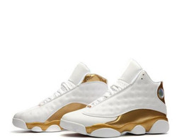 Wholesale Size 13 14 - AAA+ quality air retro 13 14 DMP Defining Moments Pack men basketball shoes white gold sports Sneaker Athletics Shoes size 41-47