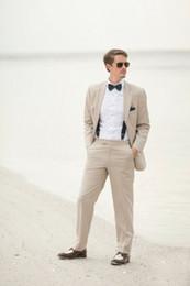 Wholesale Men S Beach Wedding - Wholesale- 2016 Slim Fit Linen Beach Wedding Men Suits Custom Made Tuxedos Groomsman Wear Best Man Bridegroom Suit 2 Pieces Jacket+Pants