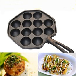 Wholesale Egg Pan Mold - Wholesale- No coating iron Octopus small balls Mold baking pan Baked Quail eggs non-stick pan for Electromagnetism furnace and gas grill