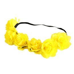 Wholesale High Quality New Beauty Rose Flower Crown Headband Wedding Double Row Floral Garland Hairband Y88