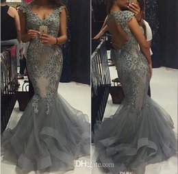 Wholesale Silver Grey Mermaid Dresses - 2017 Elegant Grey Organza Mermaid Prom Dresses Sweetheart Capped Sleeves Backless Formal Evening Gowns Vestidos Beaded Appliques Party Gowns