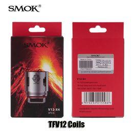 Wholesale Atomizer Core Coil - Authentic Smok TFV12 Tank Coils Head V12-T12 Duodenary 0.12ohm V12-T6 V12-T8 0.16ohm V12-Q4 V12-X4 0.15ohm Atomizer Core