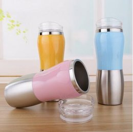 Wholesale Colorful Drink - Colorful Double Wall Vacuum Cup Straight Drink Cups Car Drinking Mug Portable Stainless Steel Tumbler Coffee Peanut Mugs CCA6313 60pcs