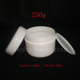 Wholesale Empty Plastic Pots - Wholesale- 250g X 20 white color empty cream cosmetic container jars ,250ml skin care mask cream PP bottles and packaging, plastic jar pot